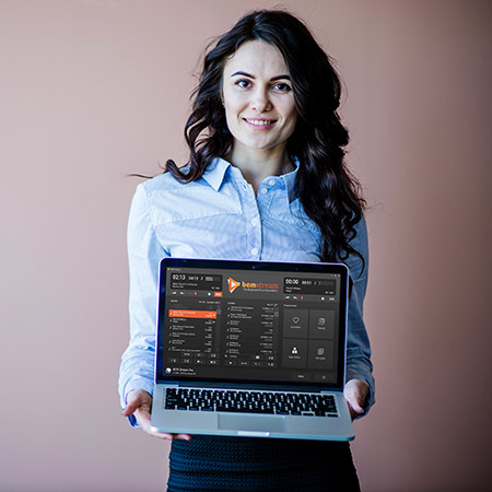 BCM Stream Pro op Laptop